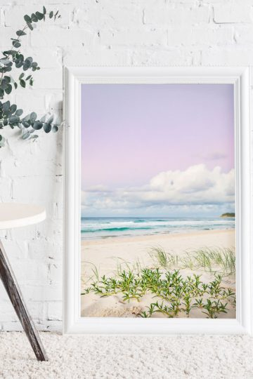 Green Dune Grass on the beach with pink sky and fluffy clouds at Sunset on Home Beach North Stradbroke Island Photography by Julie Sisco Oceans Echo